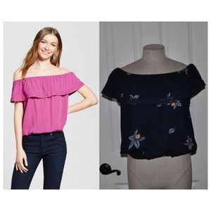 NEW Navy Floral Off-Shoulder Ruffle Tank Top XL
